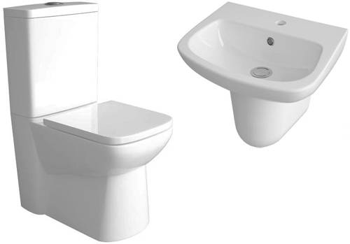 Additional image for Compact Flush To Wall Toilet, 500mm Basin & Semi Pedestal.