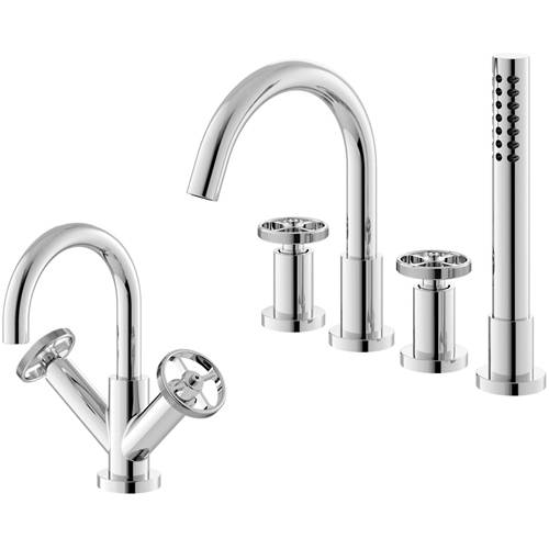 Additional image for Basin & 4 Hole Bath Shower Mixer Tap With Industrial Handles.