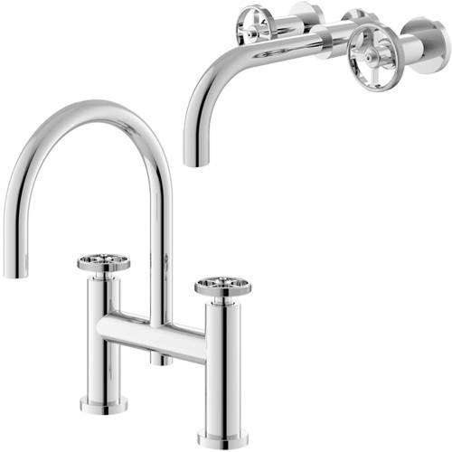 Additional image for Wall Mounted Basin & Bath Filler Tap With Industrial Handles.