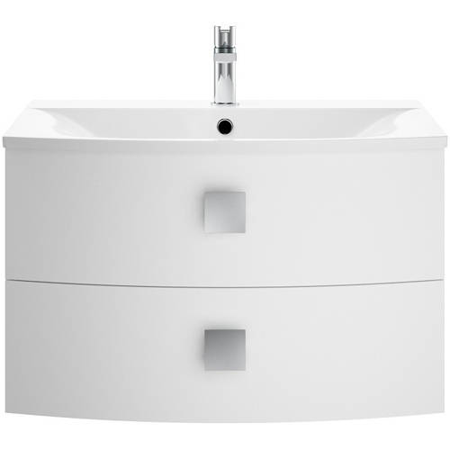 Additional image for Wall Hung Vanity Unit With 2 Drawers (700mm, Moon White).