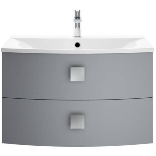 Additional image for Wall Hung Vanity Unit With 2 Drawers (700mm, Dove Grey).