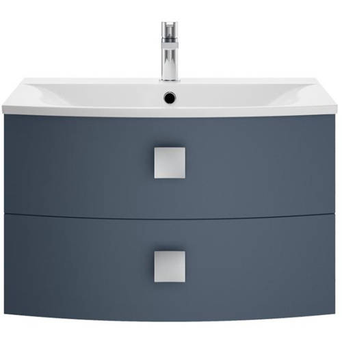 Additional image for Wall Hung Vanity Unit With 2 Drawers (700mm, Mineral Blue).