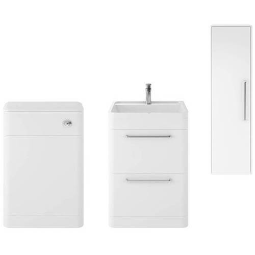 Additional image for Floor Standing 600mm Vanity Unit, BTW & Tall Unit (White).