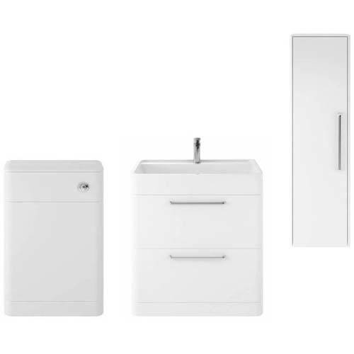 Additional image for Floor Standing 800mm Vanity Unit, BTW & Tall Unit (White).