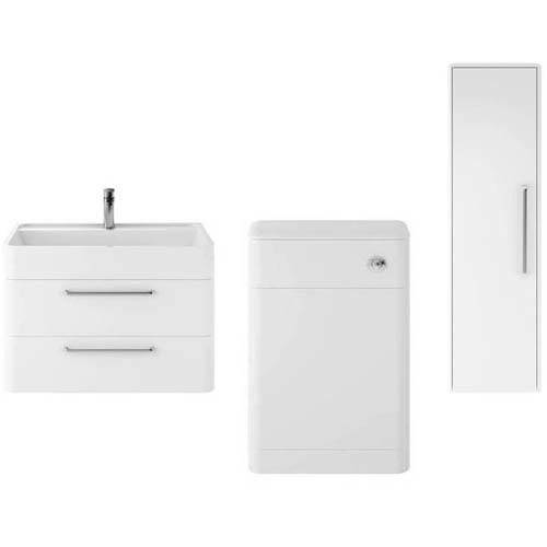 Additional image for Wall Hung 800mm Vanity Unit, BTW & Tall Unit (White).