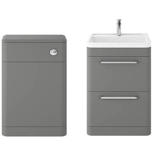 Additional image for Floor Standing 600mm Vanity Unit & BTW Pack (Cool Grey).