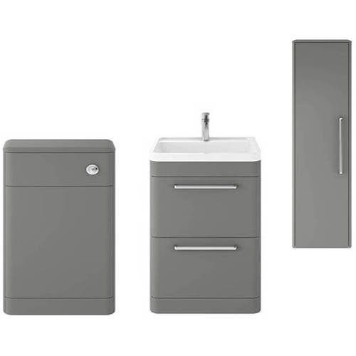Additional image for Floor Standing 600mm Vanity Unit, BTW & Tall Unit (Grey).