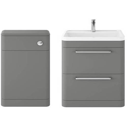 Additional image for Floor Standing 800mm Vanity Unit & BTW Pack (Cool Grey).