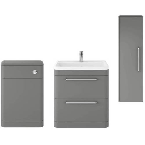 Additional image for Floor Standing 800mm Vanity Unit, BTW & Tall Unit (Grey).
