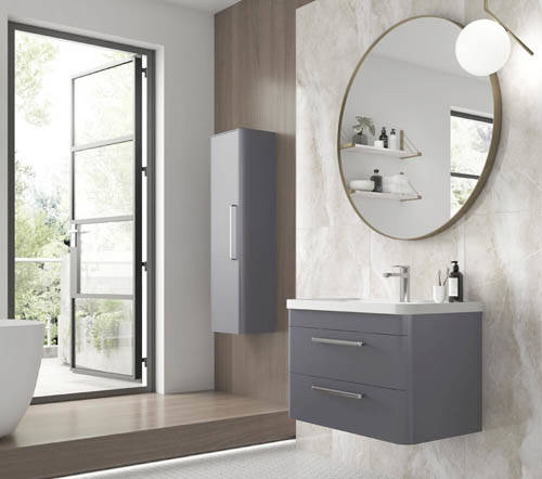 Additional image for Wall Hung Vanity Unit & Basin 800mm (Cool Grey).