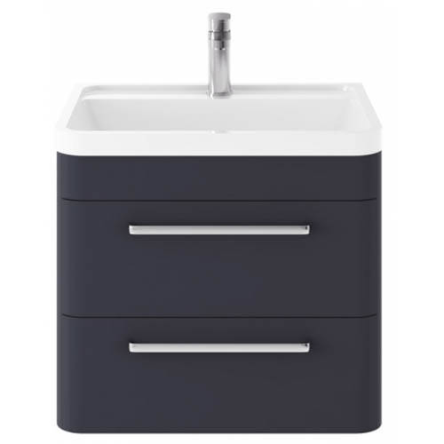 Additional image for Wall Hung Vanity Unit & Basin 600mm (Indigo Blue).