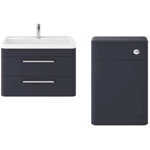 Additional image for Wall Hung 800mm Vanity Unit & BTW Pack (Indigo Blue).
