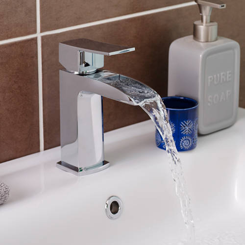 Additional image for Waterfall Basin Mixer Tap With Push Button Waste (Chrome).