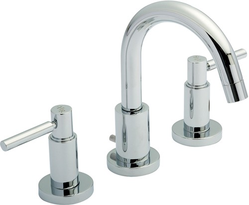 Additional image for 3 Tap Hole Basin Tap With Small Spout & Lever Handles.
