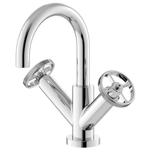 Additional image for Basin Mixer Tap With Industrial Handles (Chrome).