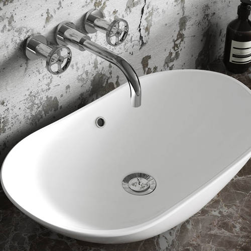 Additional image for Wall Mounted Basin Mixer Tap With Industrial Handles.