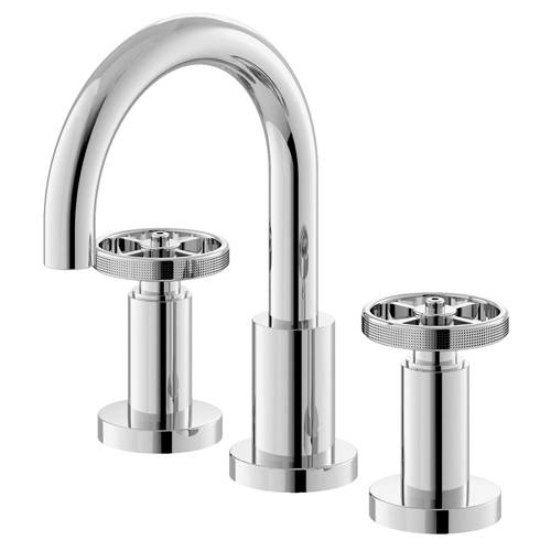 Additional image for 3 Hole Basin Mixer Tap With Industrial Handles (Chrome).