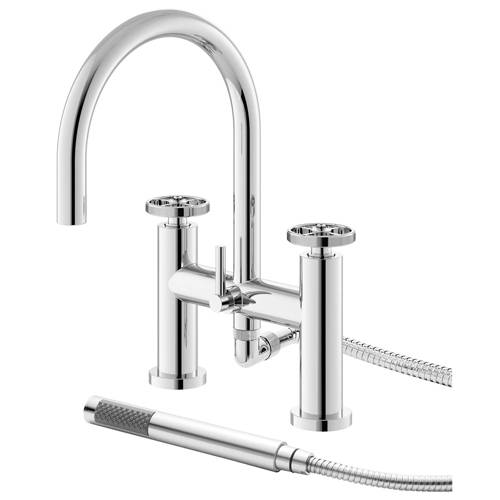 Additional image for Bath Shower Mixer Tap With Industrial Handles (Chrome).