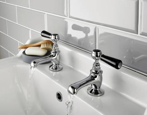 Additional image for Basin & Bath Tap Pack With Levers (Black & Chrome).