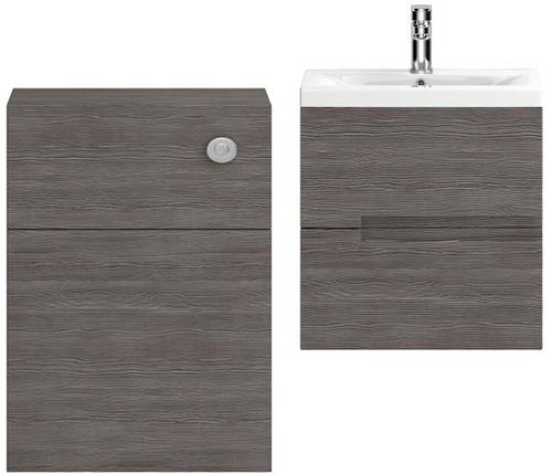 Additional image for 500mm Wall Vanity With 600mm WC Unit & Basin 1 (Grey Avola).