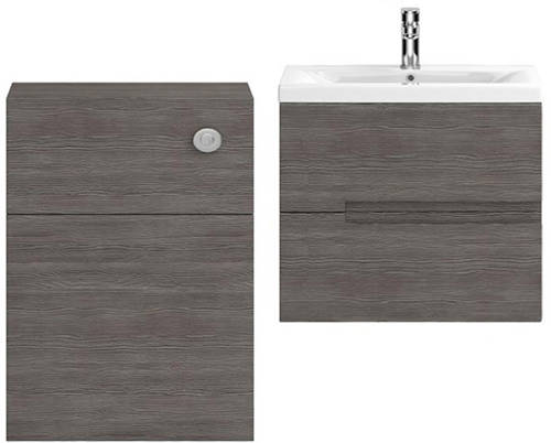 Additional image for 600mm Wall Vanity With 600mm WC Unit & Basin 2 (Grey Avola).