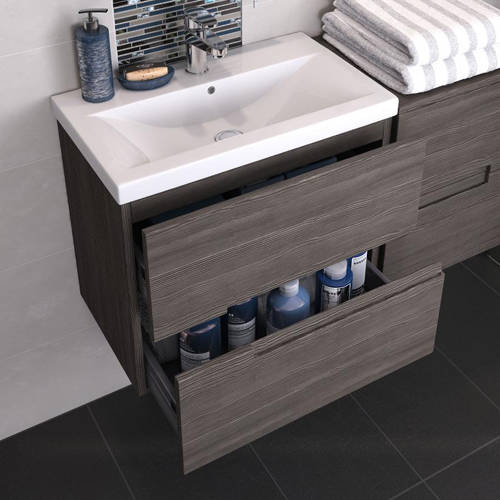 Additional image for 800mm Wall Vanity With 600mm WC Unit & Basin 1 (Grey Avola).