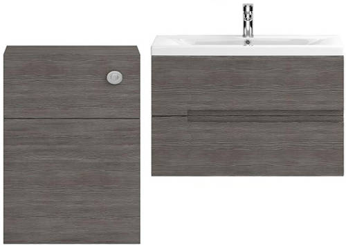 Additional image for 800mm Wall Vanity With 600mm WC Unit & Basin 2 (Grey Avola).