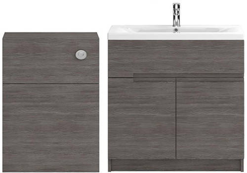 Additional image for 800mm Vanity With 600mm WC Unit & Basin 2 (Grey Avola).