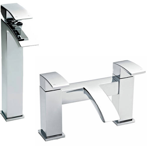 Additional image for Bath Filler & High Rise Basin Tap Pack (Chrome).