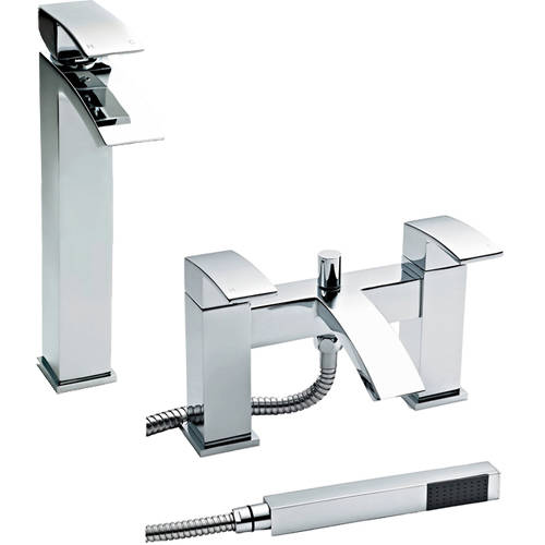 Additional image for Bath Shower Mixer & High Rise Basin Tap Pack (Chrome).