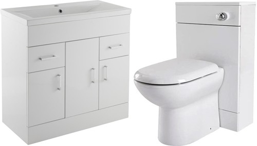 Additional image for 800mm Vanity Unit Suite With BTW Unit, Pan & Seat (White).