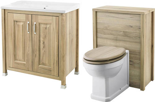 Additional image for 800mm Vanity & 600mm WC Unit Pack (Walnut).