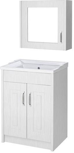 Additional image for 600mm Vanity Unit & Mirror Cabinet Pack (White).