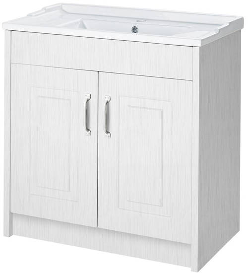Additional image for 800mm Vanity Unit & Mirror Cabinet Pack (White).