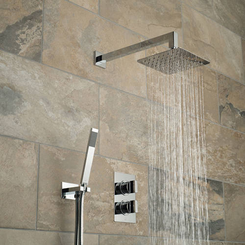 Additional image for Thermostatic Shower Set With 2 Outlets (Chrome).