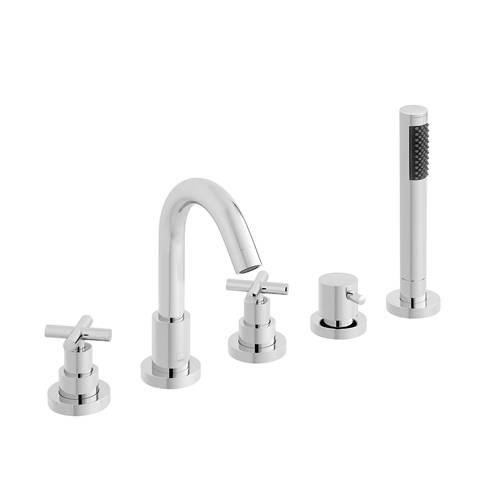 Additional image for 5 Hole Bath Shower Mixer Tap With Fixed Spout (Chrome).
