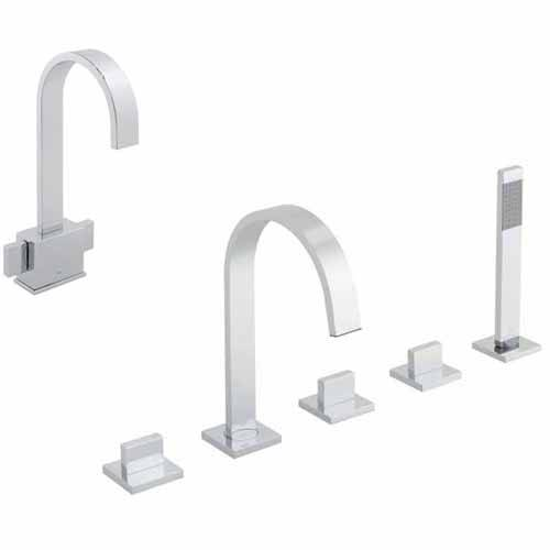 Additional image for 5 Hole Bath Shower Mixer & Basin Mixer Tap Pack (Chrome).