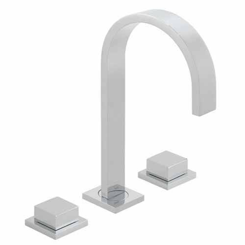 Additional image for Deck Mounted 3 Hole Basin Mixer Tap With Square Handles (Chrome).