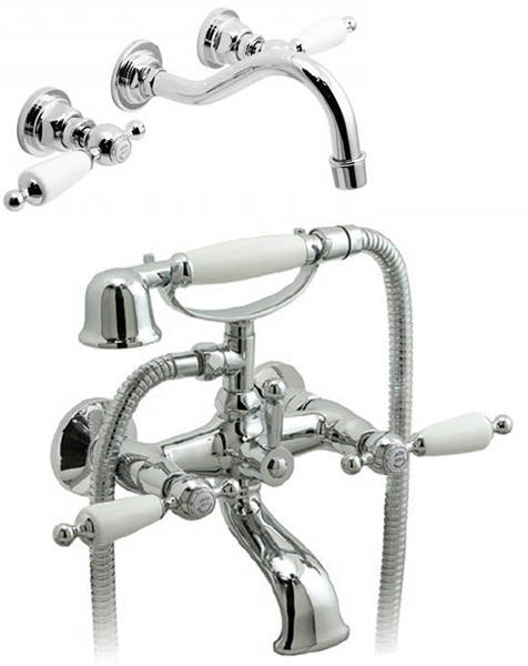 Additional image for Wall Mounted Basin & BSM Tap Pack (Chrome & White).