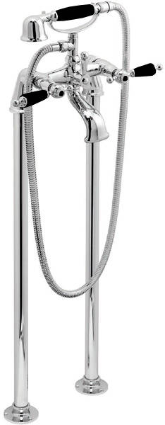 Additional image for Floor Mounted Bath Shower Mixer Tap (Chrome & Black).