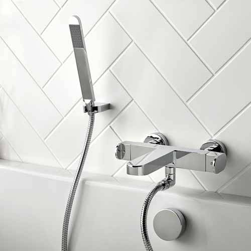 Additional image for Wall Mounted Thermostatic Bath Shower Mixer Tap With Kit (Chrome).