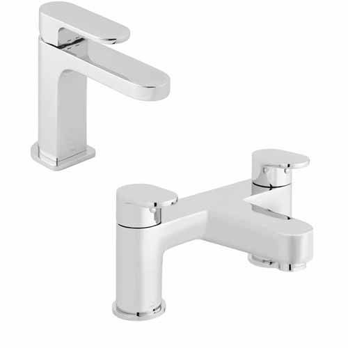 Additional image for Slimline Basin Mixer & Bath Filler Taps Pack (Chrome).