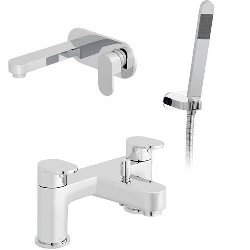 Additional image for Wall Mounted Basin & Bath Shower Mixer Taps Pack (Chrome).