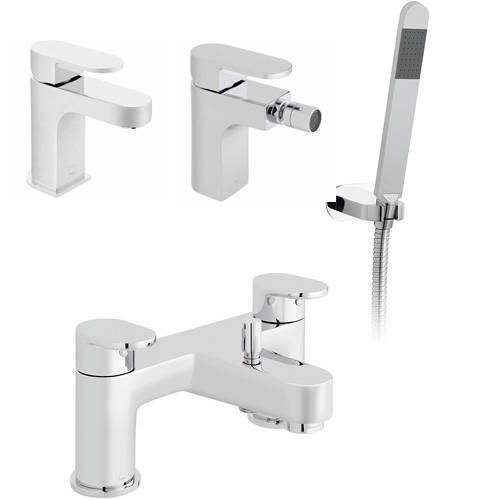 Additional image for Mono Basin, Bidet & Bath Shower Mixer Taps Pack (Chrome).