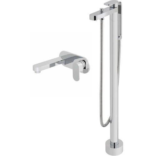 Additional image for Floor Standing Bath Shower Mixer & Wall Mounted Basin Taps Pack.