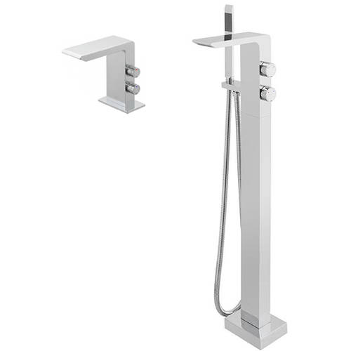 Additional image for Floor Standing Bath Shower Mixer Tap & Basin Tap Pack.