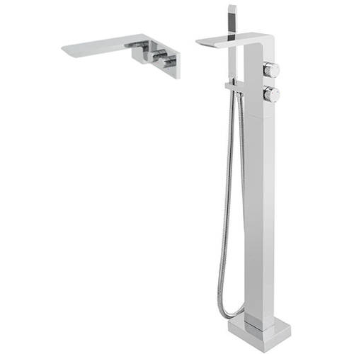 Additional image for Floor Standing Bath Mixer Tap & Wall Mounted Basin Tap.