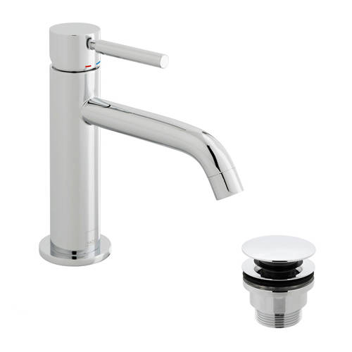 Additional image for Slimline Mono Basin Mixer Tap With Waste (Chrome Handle).