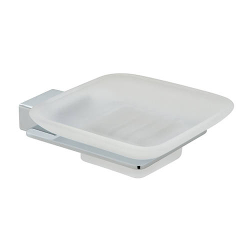 Additional image for Frosted Glass Soap Dish & Holder (Chrome).