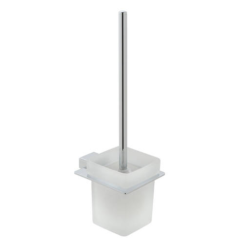 Additional image for Toilet Brush & Frosted Glass Holder (Chrome).